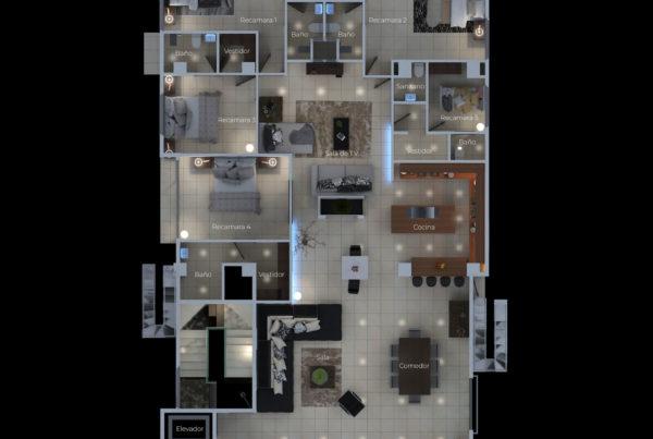 plano 3d con iluminacion nocturna