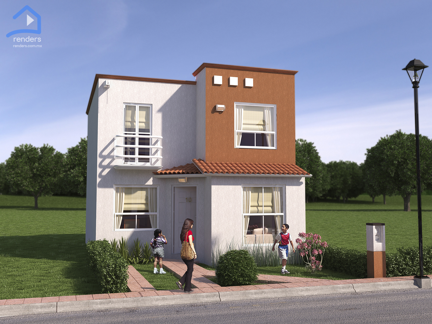 Render exterior de casa siena for Diseno de casas pequenas exteriores