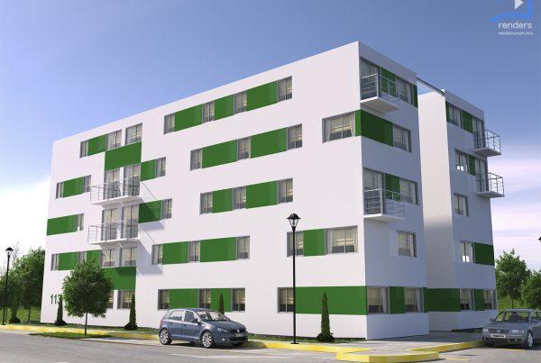 renders exteriores edificio departamentos quma