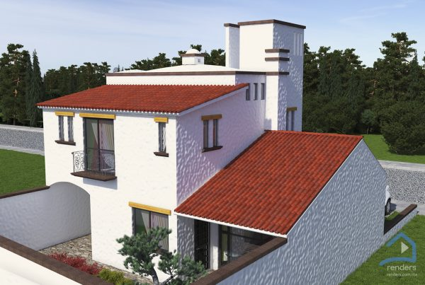 renders exteriores casa fachada
