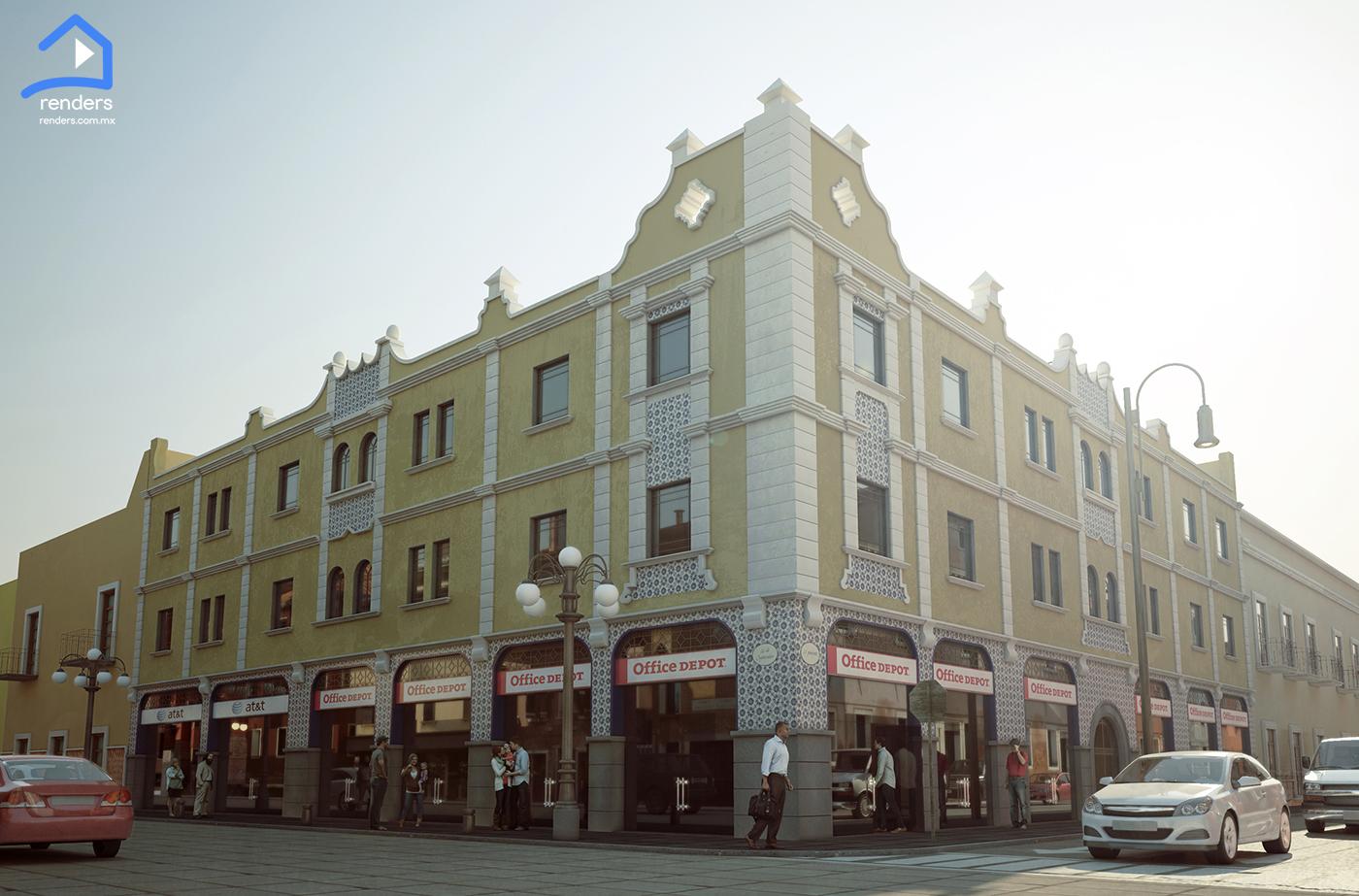 renders exteriores centro historico