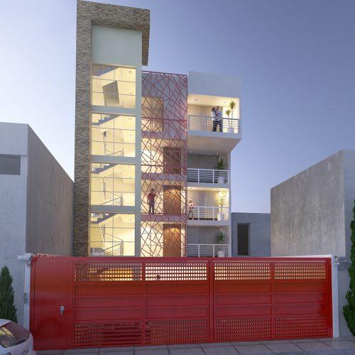 renders exteriores fachada edificio de departamentos
