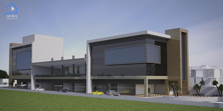 renders exteriores edificio de oficinas