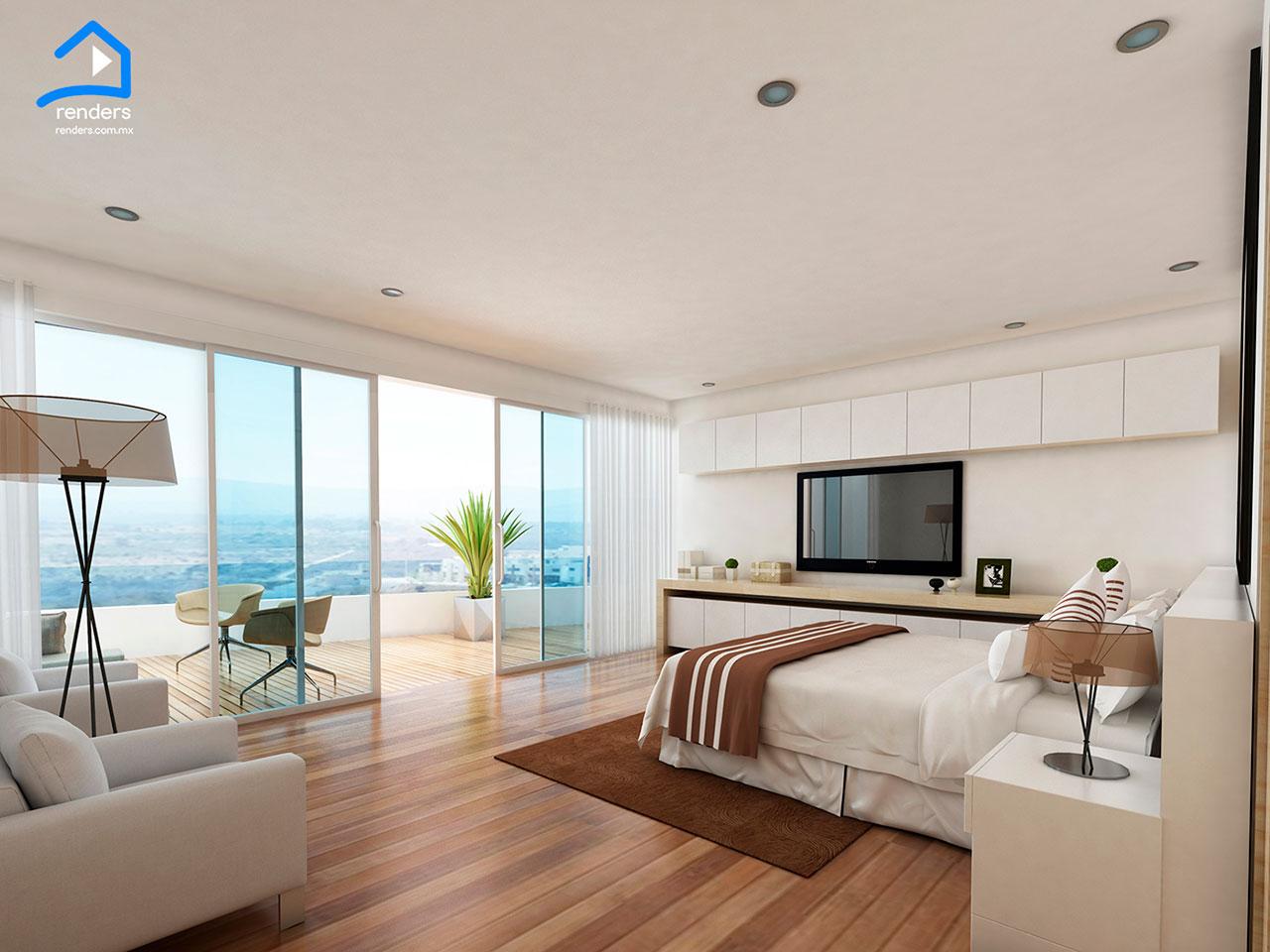 render interior habitacion de hotel
