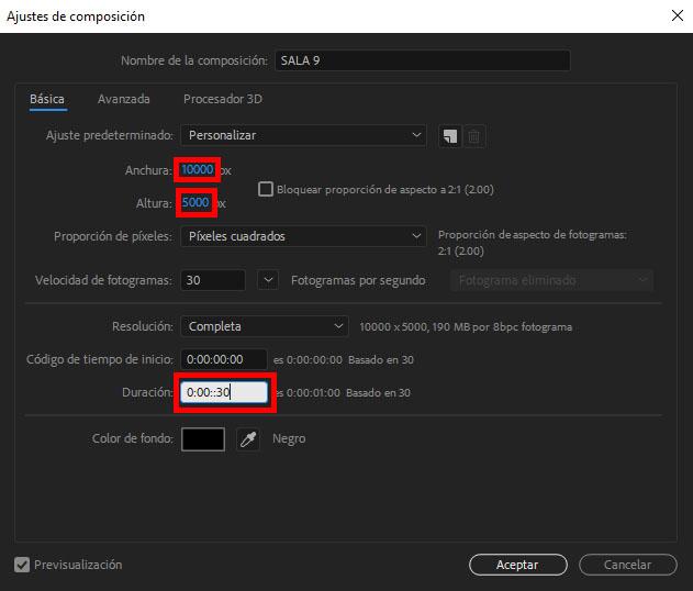 configuracion de salida de video panoramico en after effects