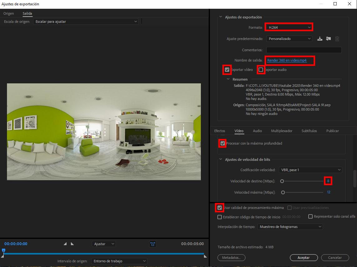 configuracion para renderizar video con media encoder
