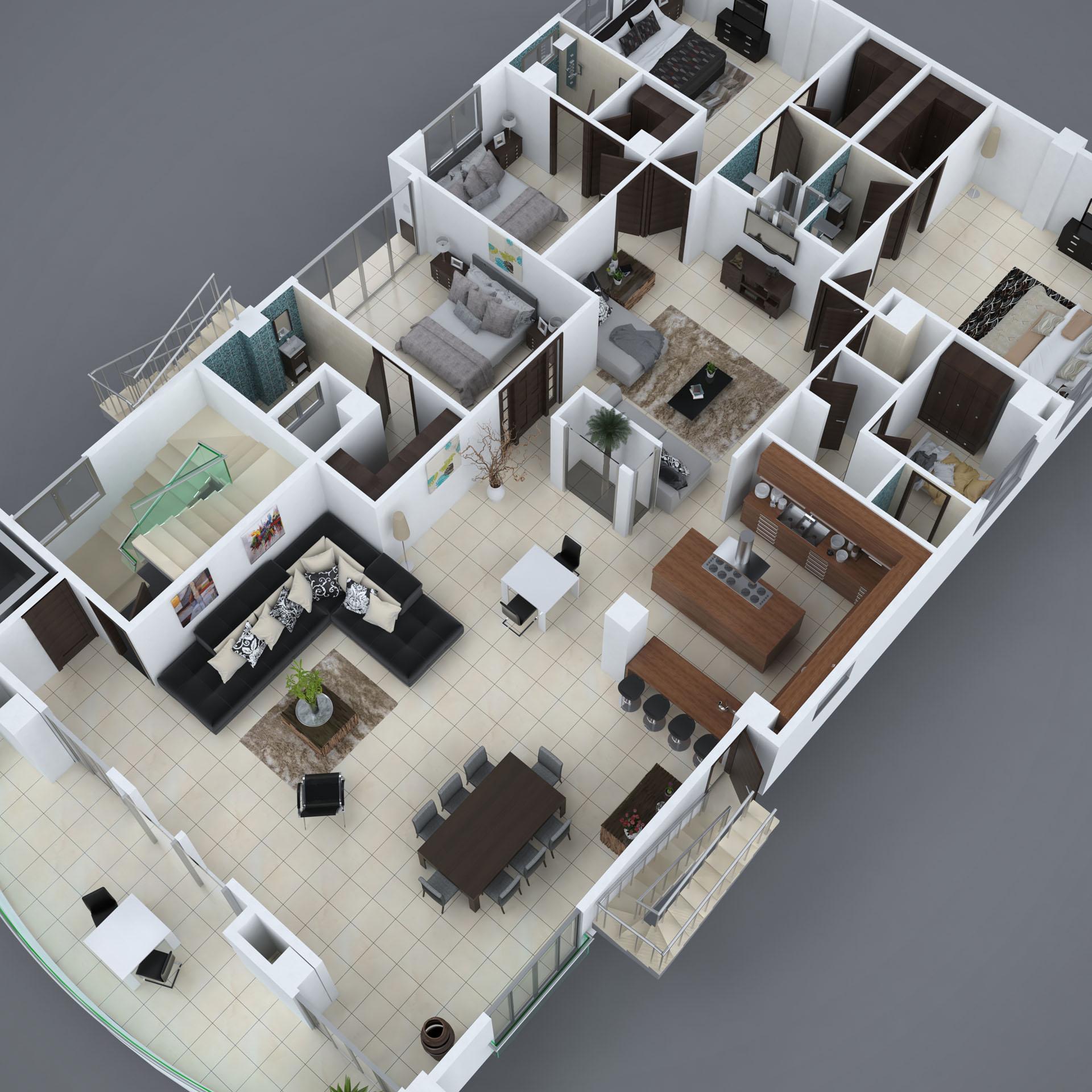 planta 3d del penthouse de torre nikisy