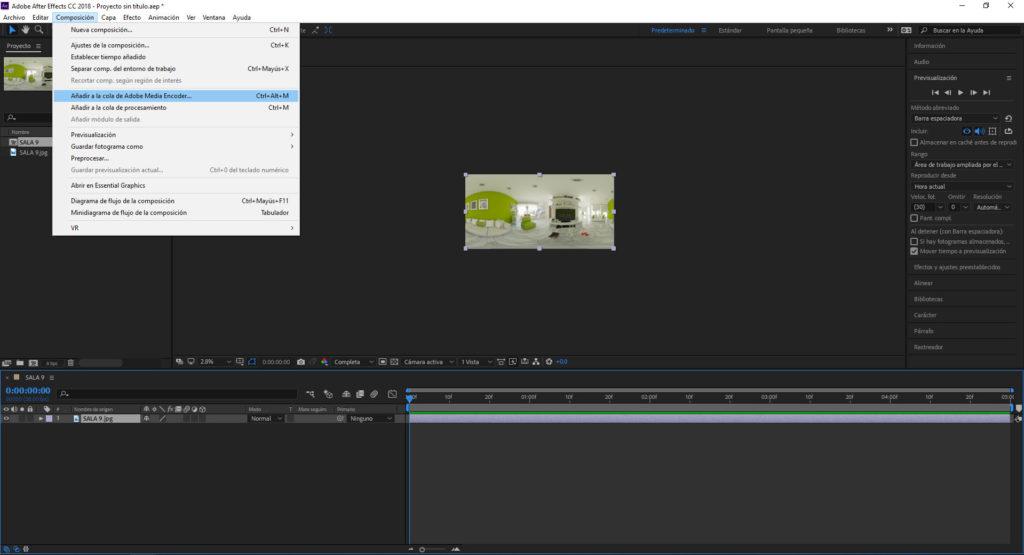 renderizar video con media encoder para subir render 360 a youtube